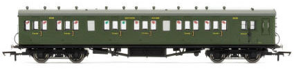 Hornby SR 58' Maunsell Rebuilt (Ex-LSWR 48') Six Compartment Lavatory Brake Third Class, SR Olive - R4718