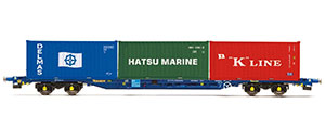 R6958 - Hornby Tiphook, KFA Container wagon, 93390, with 3 x 20' containers; Delmas/Hatsu/'K' Line - Era 11