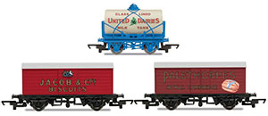 R6991 - Hornby 'Retro' Wagons, three pack, United Dairies Tanker, Jacob's Biscuits, Palethorpes