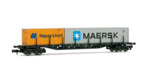 "Arnold N Guage Model Railway - Hornby International - HN6118 Container wagon, type Sgjs716, loaded with 20' container ""Hapag-Lloyd"" and 40' container ""MAERSK"