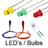 Model Railway Shop - Model Railway Electronics - Lights - products include LED's L.E.D.'s and filiment lamps, 3mm and 5mm, 5V and 12V, Red Green or Yellow and white, Bi pin lamp