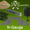 Javis N-Gauge Scenery - Javis Walls, Tress, Bushes.