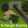 N-Gauge Scenery - Javis, Noch Tunnels, Walls, Tress, Bushes.