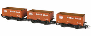 GV6013 - Oxford Rail - British Steel 7 Plank Open Coal Wagon - Pack of 3