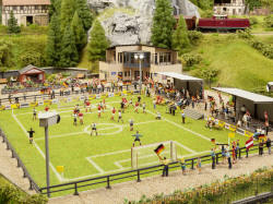 Noch Football Pitch with Clubhouse, micro-sound Stand and Floodlights - N66830