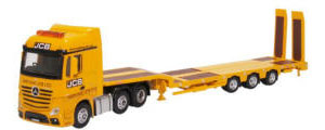 76MB010 - Oxford Diecast Mercedes Actros Semi Low Loader JCB