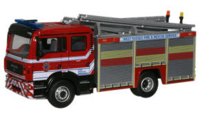 Oxford Diecast MAN Pump Ladder -  West Sussex Fire and Rescue Engine - 76MFE003