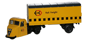 New Modellers Shop - Oxford Diecast - Railfreight Yellow Scammell Scarab Van Trailer - 76RAB009