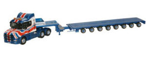 Oxford Diecast - Scania T Cab Low Loader - Ridgway Rentals - 76TCAB001