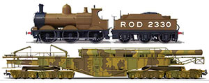 OR76BOOM01 Oxford Rail WW1 Boche Buster - Camouflage And Rod 2330